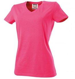 Tricorp online kopen bij JTH Tricorp dames T-shirt V- hals Slimfit TVT-190-101008 fuchsia