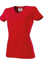 Tricorp online kopen bij JTH Tricorp dames T-shirt V- hals slimfit TVT-190-101008 red