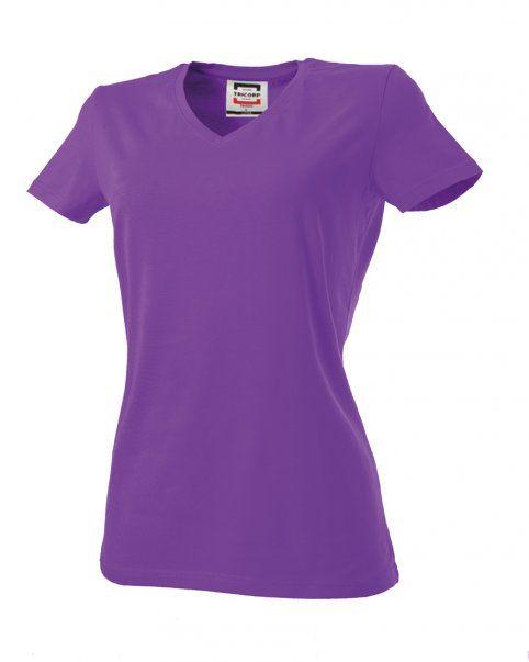 Tricorp online kopen bij JTH Tricorp dames T-shirt V- hals Slimfit TVT-190-101008 purple