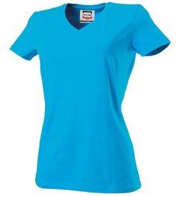 Tricorp online kopen bij JTH Tricorp dames T-shirt V- hals Slimfit TVT-190-101008 turquoise