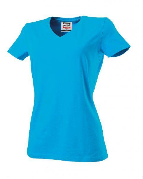 Tricorp online kopen bij J T H Tricorp dames T-shirt V- hals Slimfit TVT-190-101008 turquoise