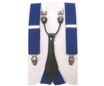 Oktoberfeest-bretel: Luxe blauwe lederlook bretel
