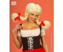 Feestpruik met blonde vlechten en rode strikjes