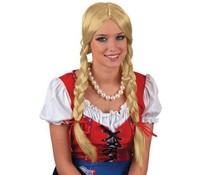 Alpenmeisjes pruik blond met vlechten
