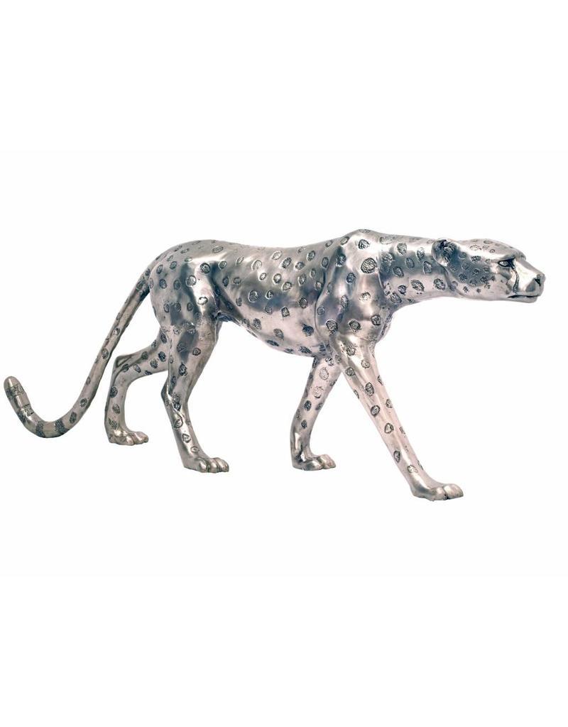 Grande Aristea – Silberfarbener Gepard Bronzefigur