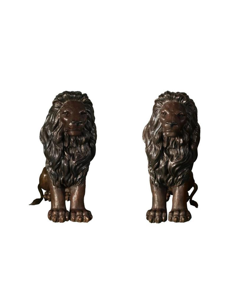 Mios Duett – Sitzendes Löwenpaar Torwächter Bronze
