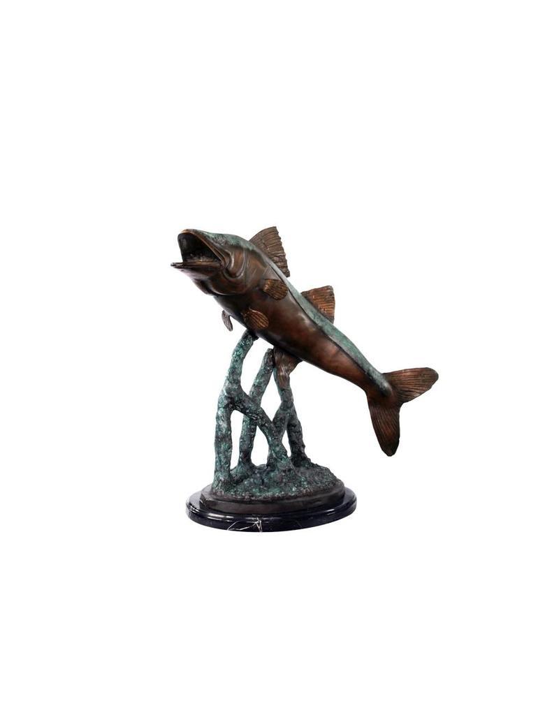 Petri – Bronzeskulptur eines Raubfisches