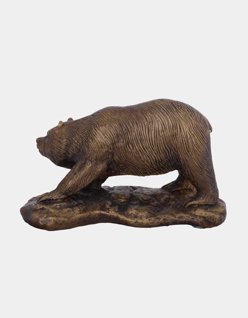 Petz – Bronzefigur eines Bären auf Sockel