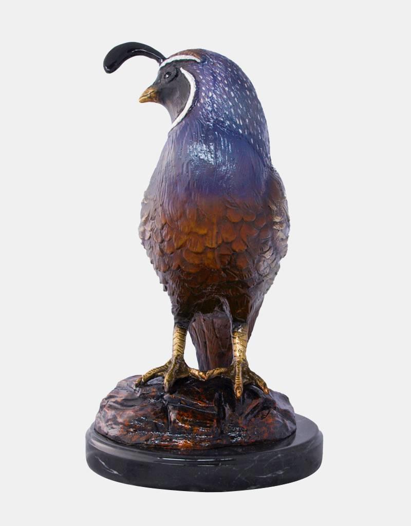California – Wachtel Bronzefigur auf Marmorsockel
