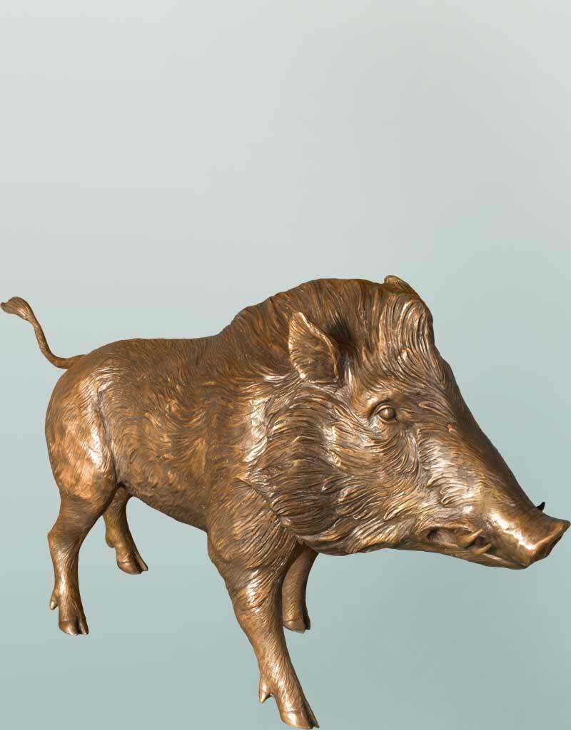 Grand Sus – Lebensgroße Bronzeskulptur eines Wildschweins