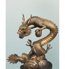 Lóng – Bronzeskulptur eines Drachens