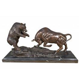 Bulle und Bär – Skulptur aus Bronze
