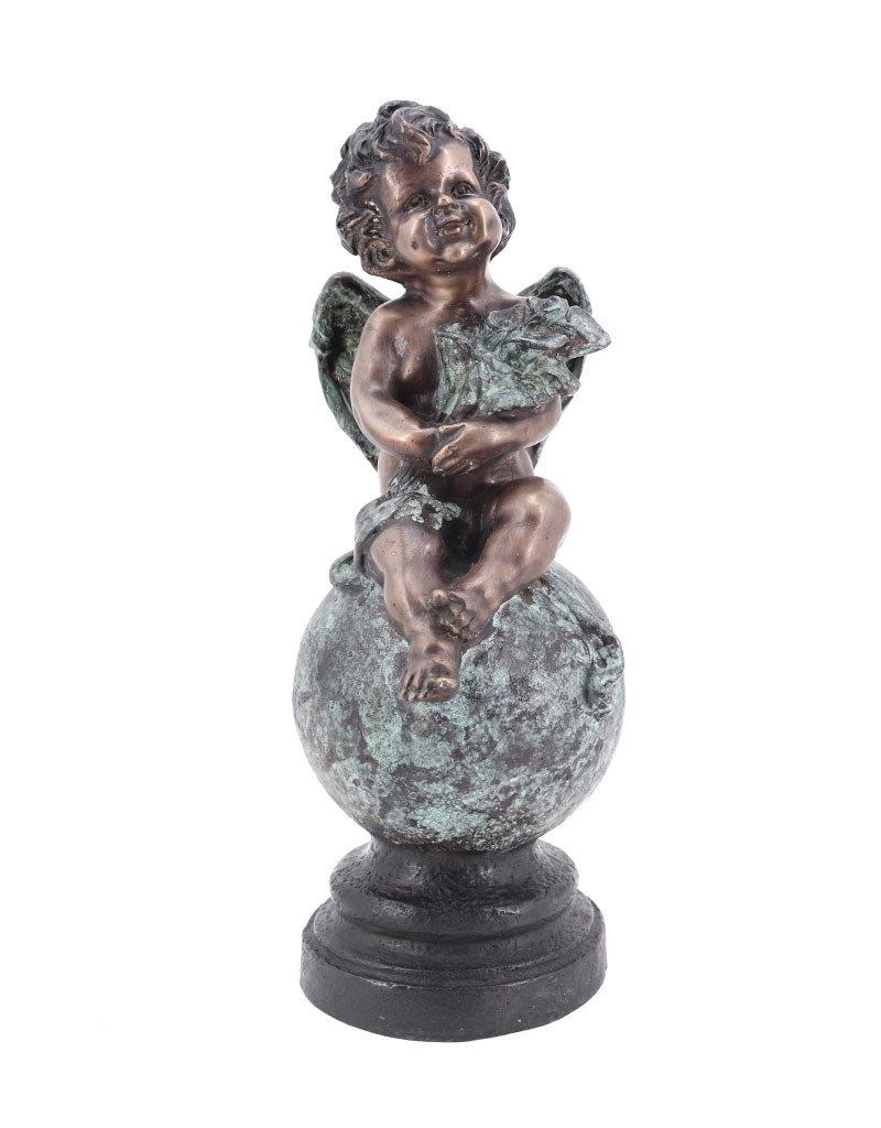 Lenz – Bronzefigur Engel auf Weltkugel