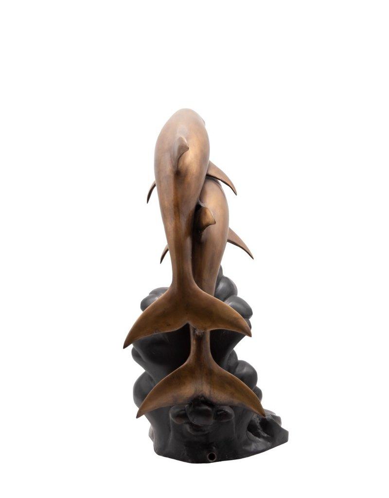 Apollon Duett – Zwei Delfine Wasserspeier aus Bronze