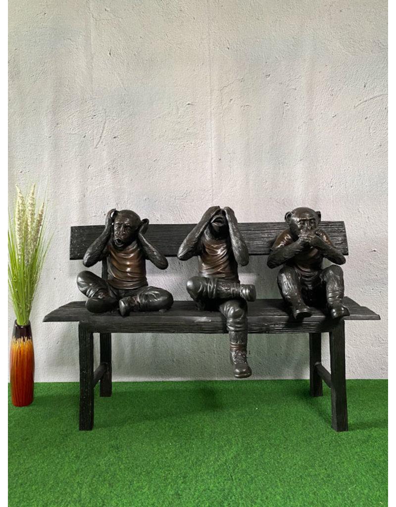 Die Drei Affen – Bronzebank Statue