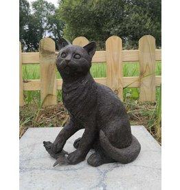 Neko – Katze mit Fisch in Bronze