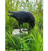 Hugin – Bronzeskulptur eines Raben