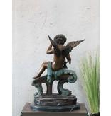 Himmelsbote – Engel mit Harfe Bronzefigur
