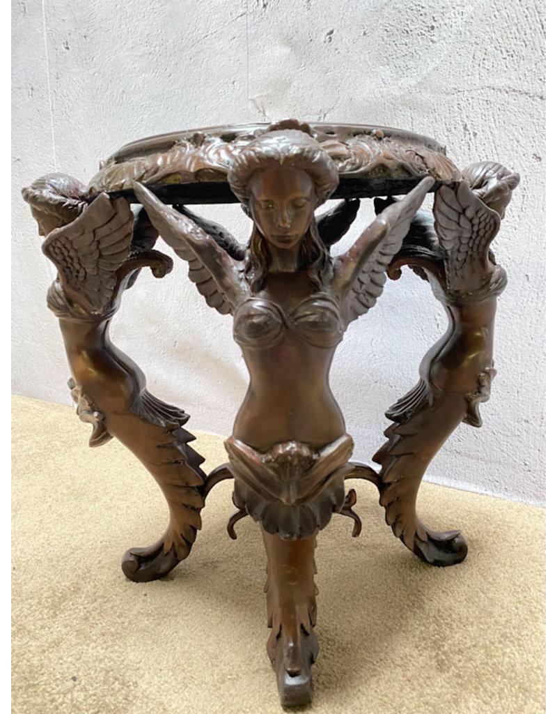 Jugendstil Hocker – Bronzeobjekt Engel