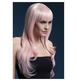 Fever Fever Lange blonde Perücke mit pinkfarbenen Highlights