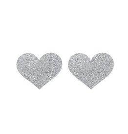 Bijoux Indiscrets Flash herzförmiger Nippelaufkleber - silbern