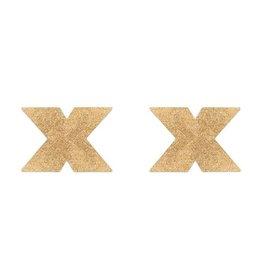 Bijoux Indiscrets Flash Kreuz Nippelaufkleber - golden