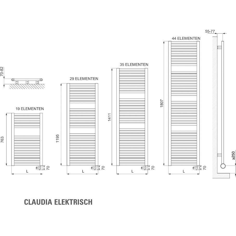 Drl E-Comfort Claudia elektrische handoekradiator Ecodesign Digi
