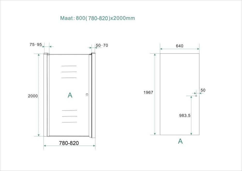 Nisdeur links gedeeltelijk matglas 80x200cm