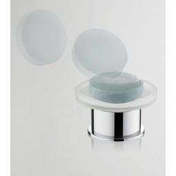 Wiesbaden Ida vrijstaande glazen zeepschaal chroom