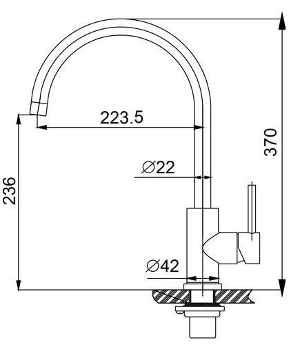 304-Austin RVS Keukenkraan hooggebogen uitloop