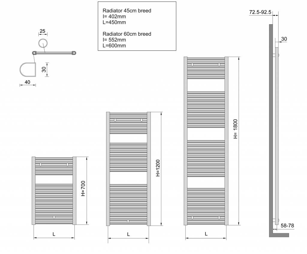 Wiesbaden Elara sierradiator antraciet 1185x450 met onderaansluiting