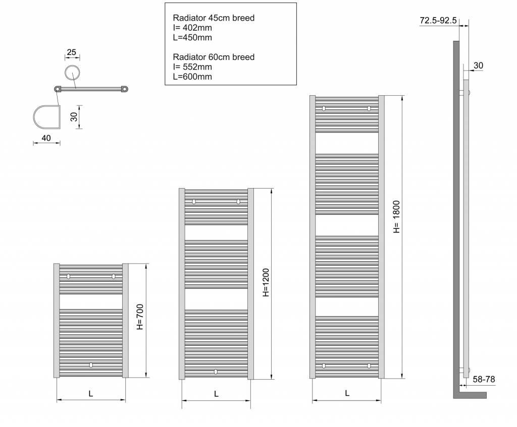 Wiesbaden Elara sierradiator chroom 1817x600 met onder aansluiting