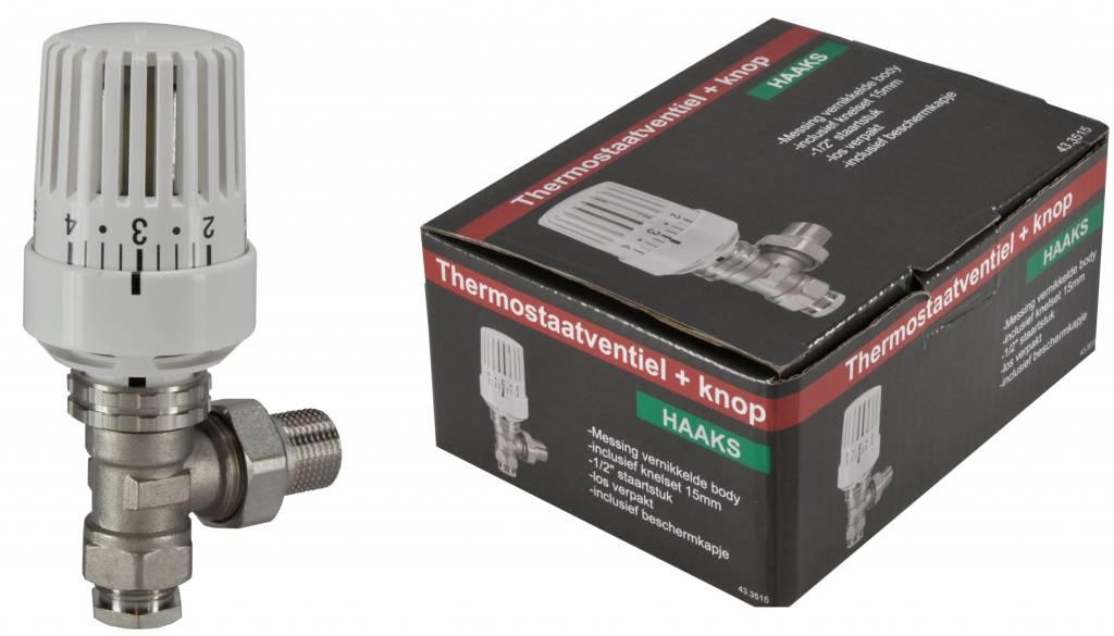 Riko Riko thermostatische radiatorkraan + knop inc. adapter 15mm 1/2 haaks