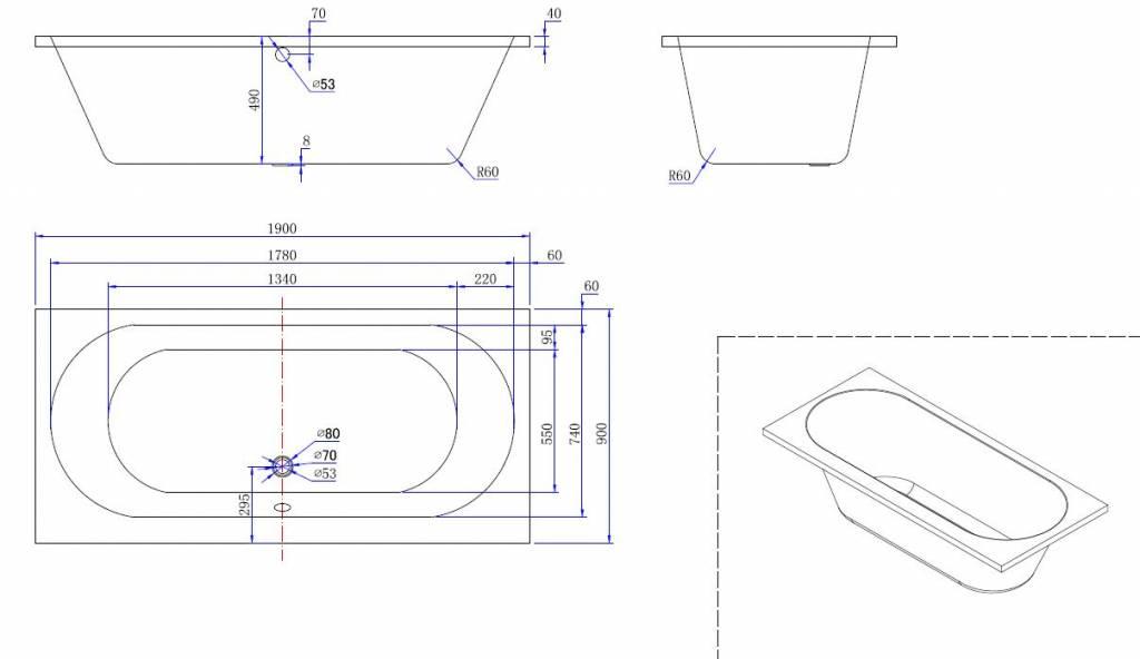 Wiesbaden Portus RD inbouw ligbad 190*90*50 cm wit DUO