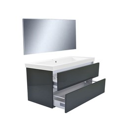Wiesbaden Vision meubelset (incl. spiegel) 100 cm hoogglans grijs