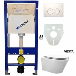 Wiesbaden Geberit UP 100 Vesta WC+ Flatline 2.0 zitting + Delta 21 druktoets wit