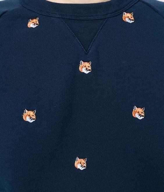 Maison Kitsune Kitsune Sweat Allover Fox Head Navy