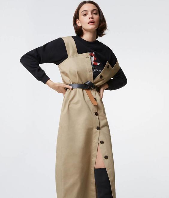 Maison Kitsune Maison Kitsune Carlotta Pinafore Dress Beige