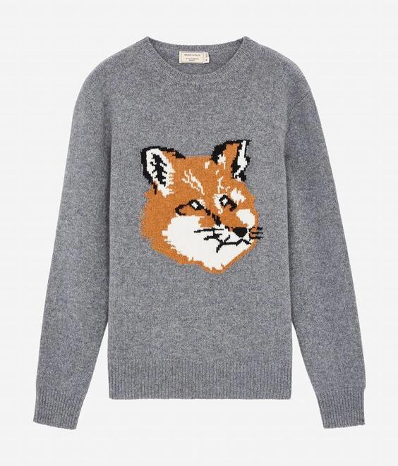 Maison Kitsune Maison Kitsune Fox Head Pullover Wool Grey