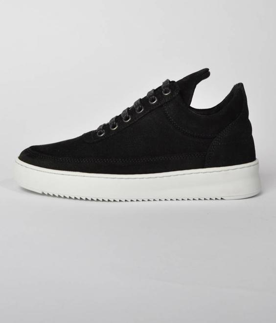 Filling Pieces Filling Pieces Low Top Ripple Waxed Suede Black
