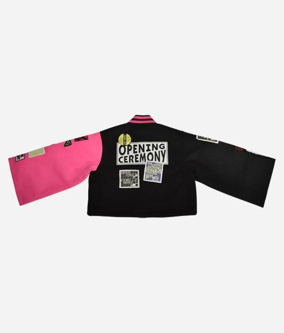 Opening Ceremony Opening Ceremony Wool Cropped Varsity Jacket Pink Black