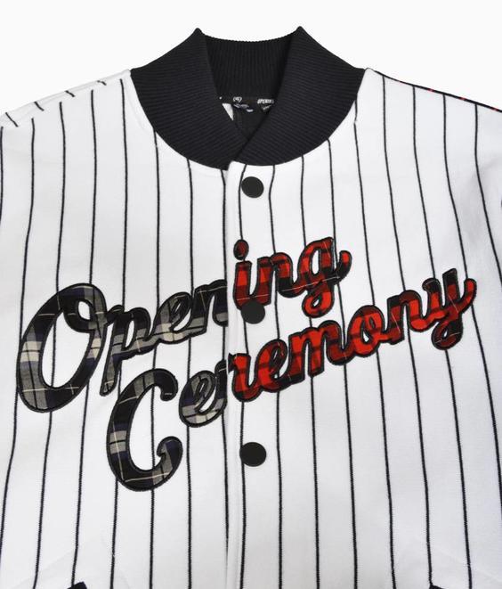 Opening Ceremony Opening Ceremony Pinstripe Baseball Jacket
