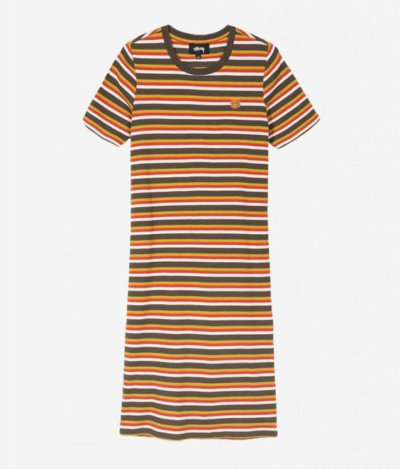 Stussy Stussy Amina Striped Rib Dress Olive