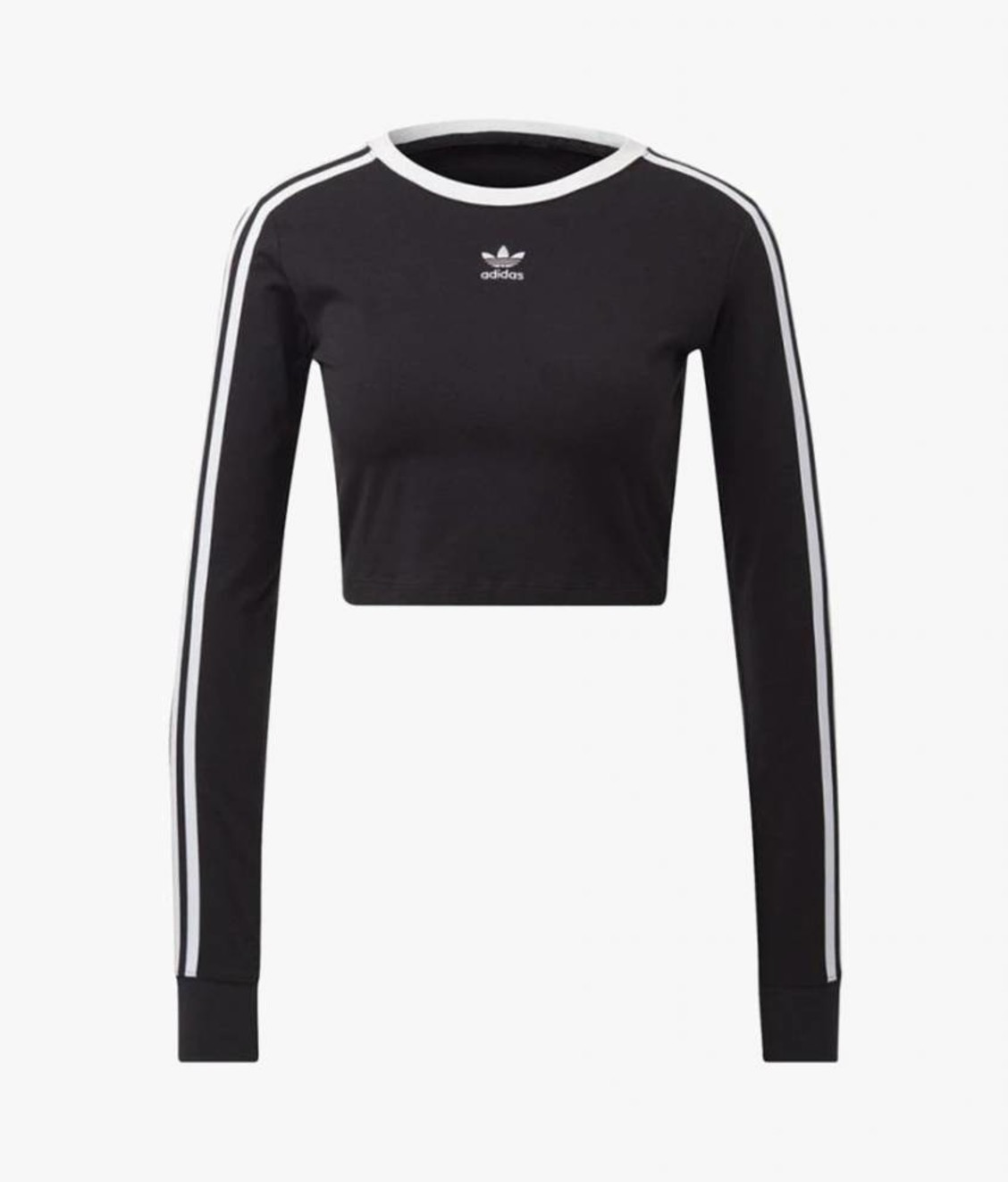 Adidas Adidas Cropped 3 Stripe LS Black White