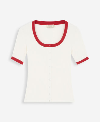 Maison Kitsune Maison Kitsune Buttoned Tee Shirt Ecru