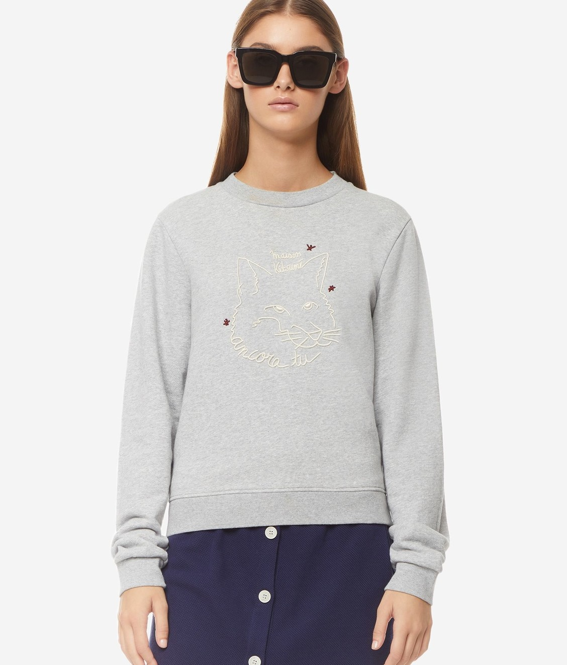 Maison Kitsune Maison Kitsune Sweat Fox Drawing Grey
