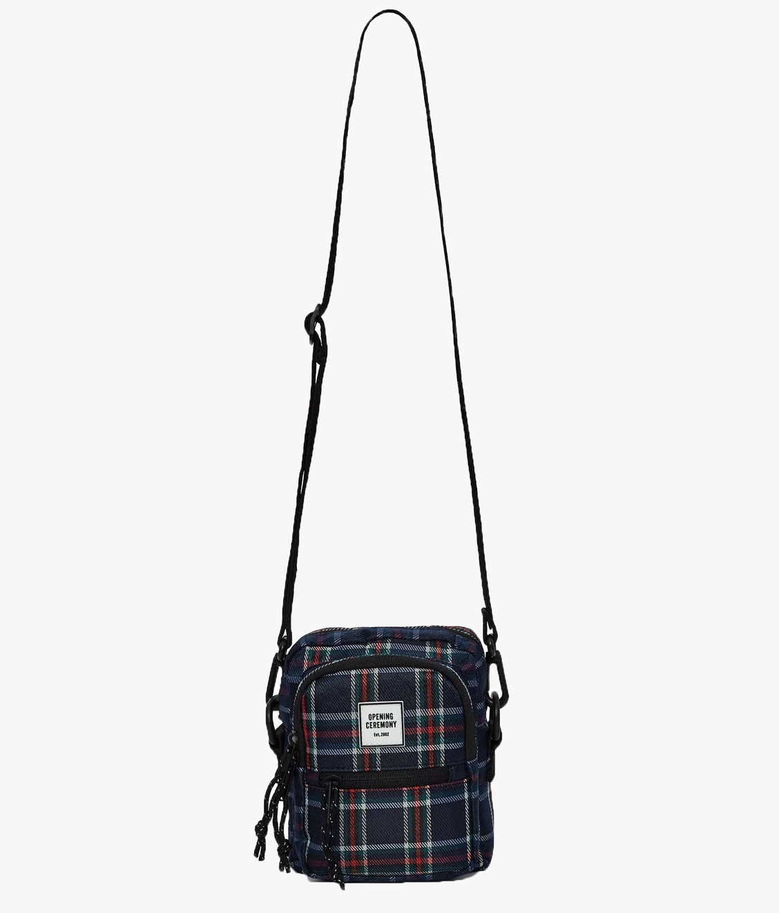 Opening Ceremony Opening Ceremony Logo Plaid Mini Cross Bag Navy