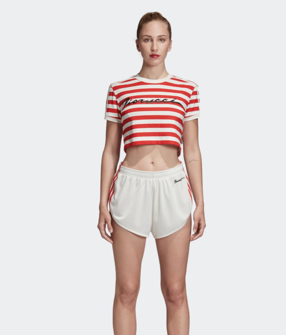 Adidas Adidas Fiorucci Stripe Crop Tee