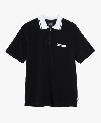 Stussy Stussy Terry Lion Zip Polo Black