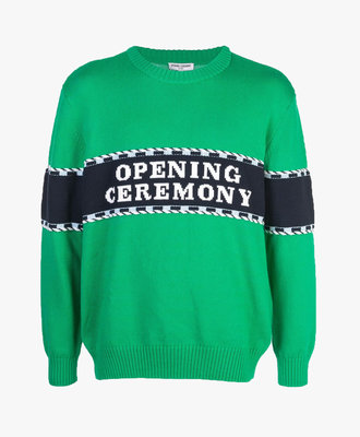 Opening Ceremony Opening Ceremony Logo Stripe Knit Sweat Green